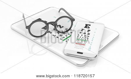 Eyeglasses, tablet and smartphone with eyesight test on screen, isolated on white background.