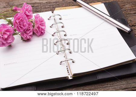 Diary Note With Pink Rose On Old Wood