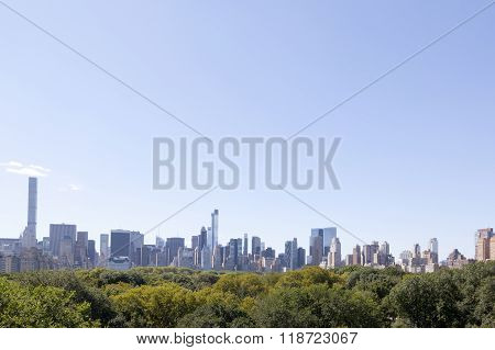New York City, 14 September 2015: View From Roof Of Metropolitan Museum Of Art Over Central Park
