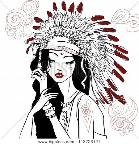 young beautiful native american woman