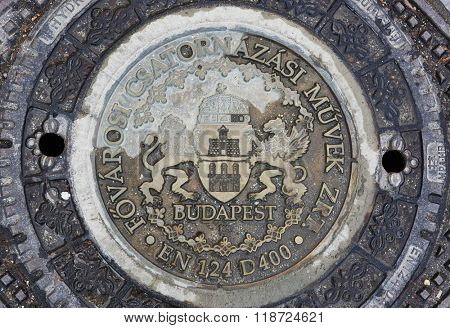 BUDAPEST, HUNGARY - FEBRUARY 02: Detail of ornamented manhole cover at the Old Town district. February 02, 2016 in Budapest.