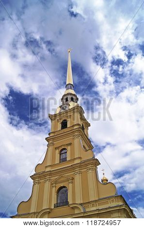 Peter and Paul Cathedral in Saint-Petersburg golden spire with angel on top of bell tower