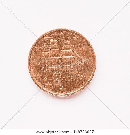 Greek 2 Cent Coin Vintage