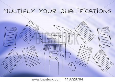 Multiply Your Qualifications, E-learning Student Surrounded By Degrees
