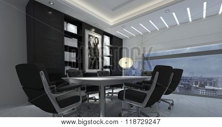 Panoramic Interior of Modern Office in High Rise Building - Long Table and Chairs in Boardroom with Book Shelves with White Books and Large Framed Picture in Skyscraper with City View. 3d Rendering.