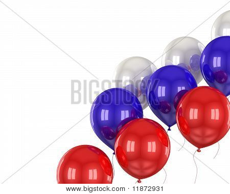 red, white, blue balls