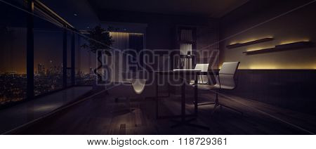 Panorama banner of a darkened office interior at night dimly lit by side lights with a view window overlooking a city. 3d rendering