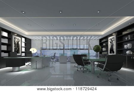 Modern Spacious Office with Boardroom Table Decorated in Black and White Tones with Polished Floor and View from Skyscraper Window of City on Overcast Day. 3d Rendering.