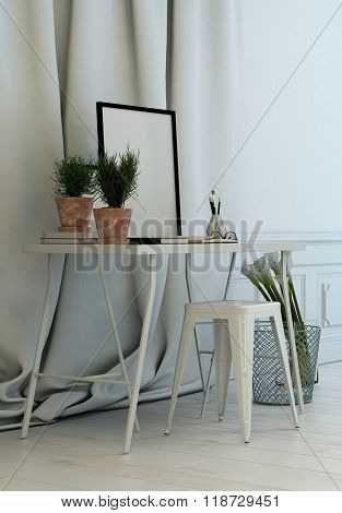 Simple writing table in front of luxurious long white drapes with an empty black picture frame in a classic white interior with wainscoting. 3d Rendering.