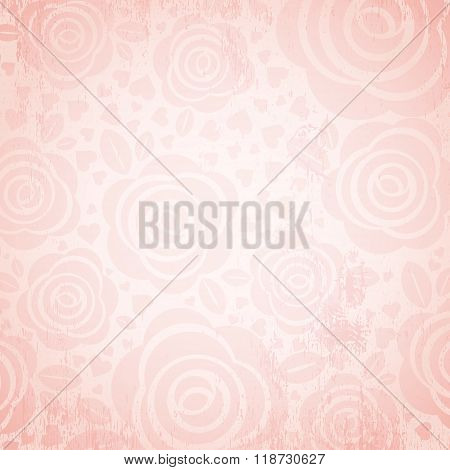 Pink Background With  Rose And Heart,  Vector