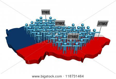 workers on strike on Czech map flag illustration