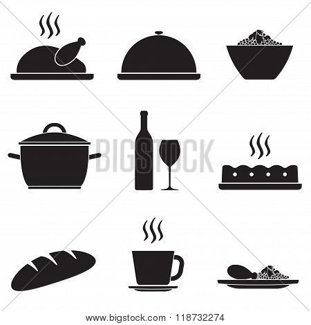 Dinner and cooking icon set isolated on white background. Vector illustration of turkey dinner.