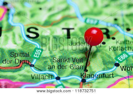 Sankt Veit an der Glan pinned on a map of Austria