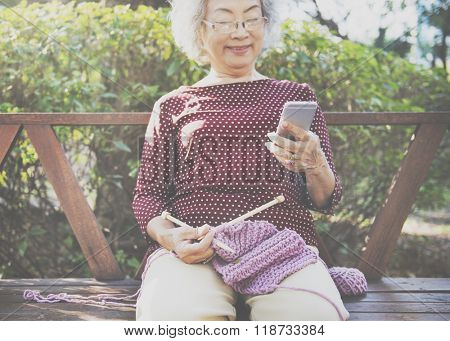 Hobby Crochet Senior Adult Hobby Handicraft Concept