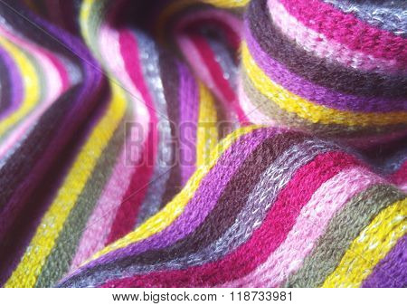 vibrant colorful metallic yarn scarf fabric texture