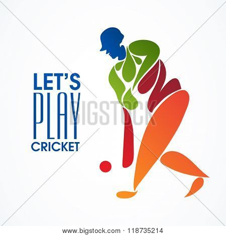 Creative illustration of a Batsman ready to hit the shot on grey background for Cricket Sports concept.