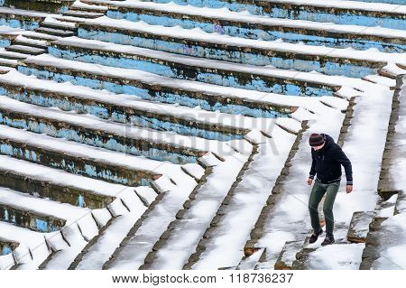 Bucharest, Romania - January 10: Tineretului Park Amphitheater On January 10, 2016 In Bucharest. Amp