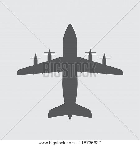 Airplane icon or sign. Vector plane silhouette.