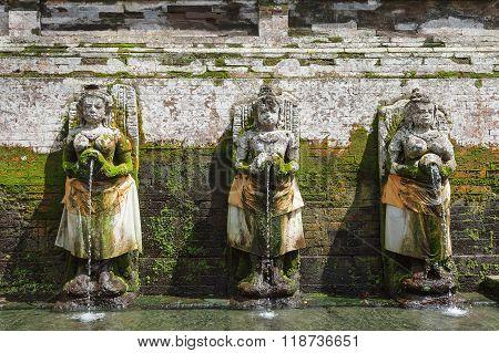 Fountains At Goagajah Temple (the Elephant Cave Temple). Ubud, Bal Islandi, Indonesia.