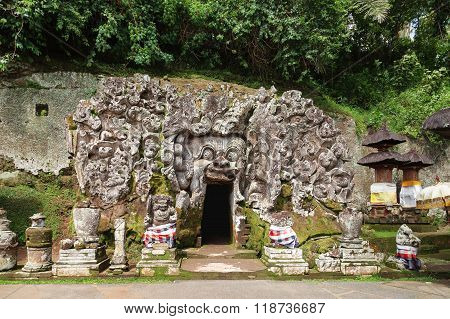 Goa Gajah Cave At Pura Goa Gajah Temple (the Elephant Cave Temple). Ubud, Bali Island, Indonesia.