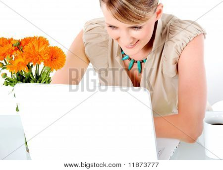 Woman Smiling Laptop