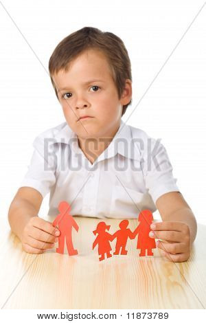 Divorce Concept With Sad Kid-focus On Hands