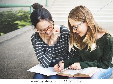 Campus Book Bonding Analysis Friends College Concept