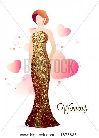 Illustration of a young girl wearing beautiful shiny gown on glossy hearts decorated background for Happy Women's Day celebration.