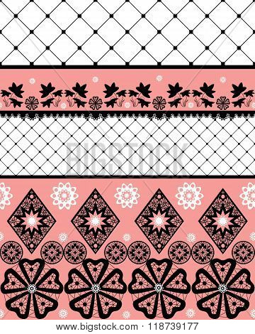 White Seamless Lace Pattern With Fishnet