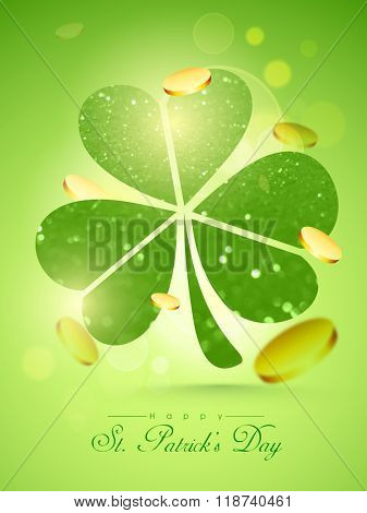 Creative shiny Shamrock Leaf with falling gold coins on green background for Happy St. Patrick's Day celebration.