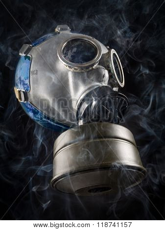 Planet Earth with gas mask as a metaphore of global air pollution