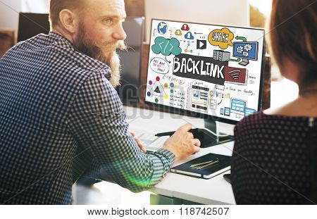 Backlink Hyperlink Internet Connection Online Network Concept