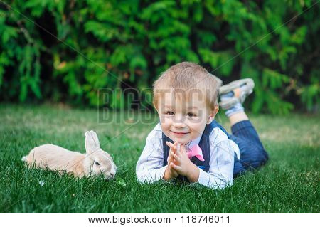 Little Boy Playing With Rabbit On Green Grass