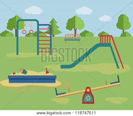 Kids playground.  Vector illustration