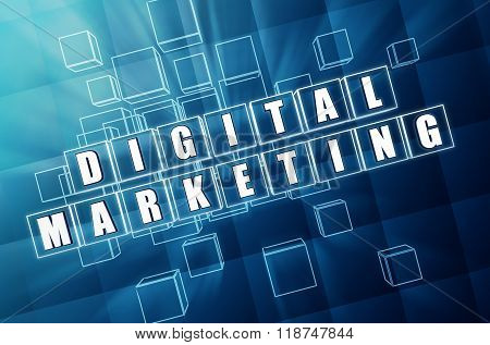 Digital Marketing In Blue Glass Cubes