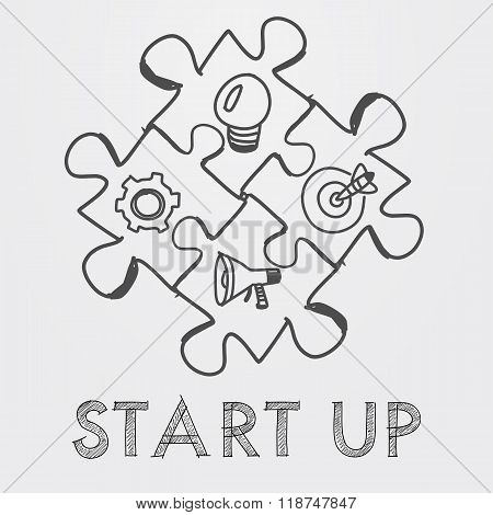 Start Up And Business Concept Signs In Puzzle Pieces