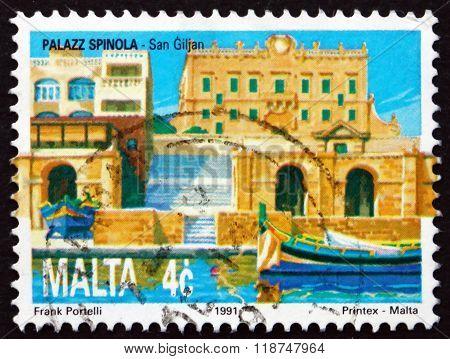 MALTA - CIRCA 1991: a stamp printed in Malta shows Spinola Palace St. Julian's, circa 1991