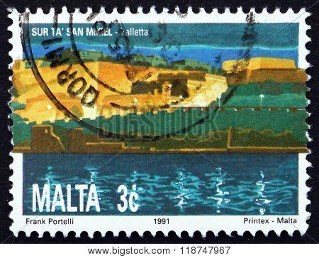 MALTA - CIRCA 1991: a stamp printed in Malta shows St. Michael's Bastion, Valletta, circa 1991