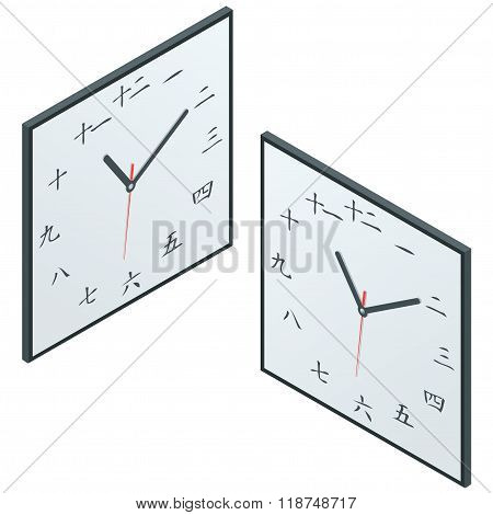 Japanese clock. Japanese Character Wall Clock. Flat 3d isometric vector illustration.