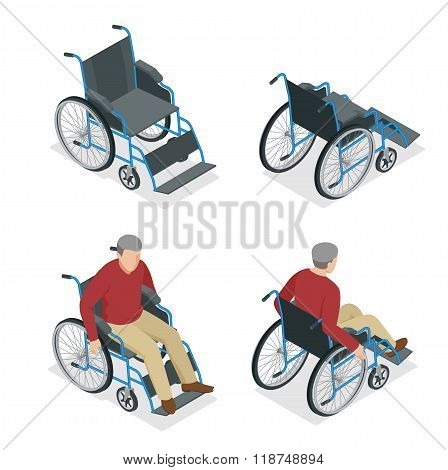 Wheelchair isolated. Man in Wheelchair. Flat 3d isometric vector illustration. International Day of