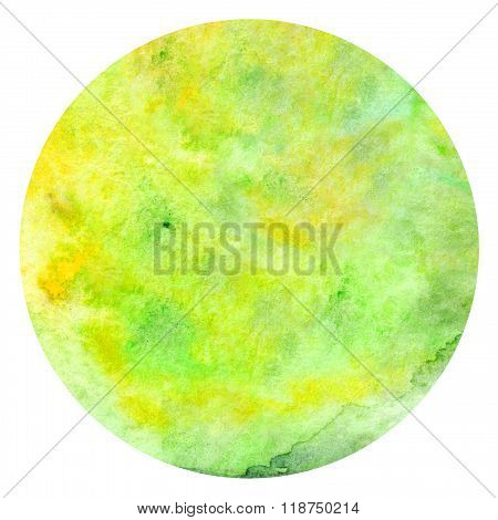Watercolor Green Yellow Neon Texture Background Pattern Circle Isolated