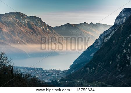 Sunset In The Mountains Surrounding Lake Garda, Italy.