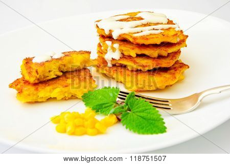 Healthy and Diet Food: Corn Fritters with Corn