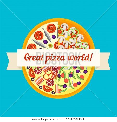 Abstract Background Of Pizza And Ribbon In A Flat Style
