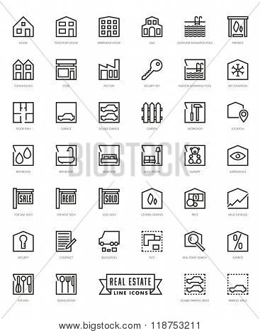 Real Estate Agent Themed Square Line Icons Set