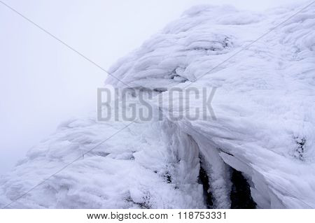 Wind Painted Snow Texture Pattern On Stone Background, Winter Background.
