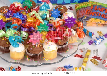 Platter Of Cupcakes Decorated With Happy Birthday Theme
