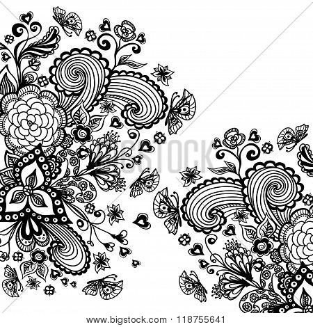 Zen-doodle background  with flowers butterflies hearts black on white