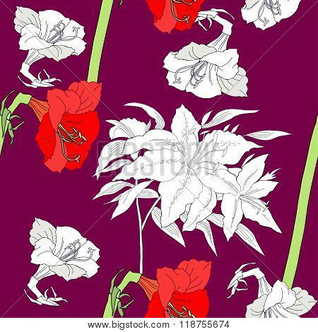 Seamless pattern  with amaryllis and flowers
