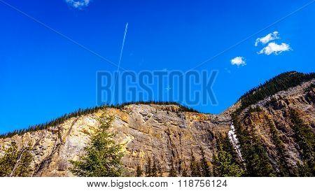 Airplane Flying over Takakkaw Falls in Yoho National Park